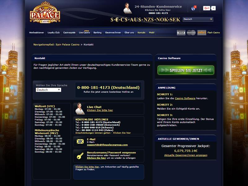 Spin Palace Online Bewertungen mit Promotionen und Boni